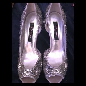 NINA SEQUINED DRESSY HIGH HEELS WITH WEDGE